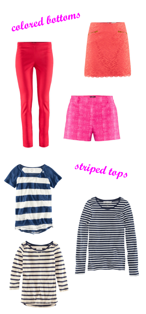 Striped Tops Colored Bottoms