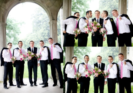 groomsmen groom wedding flowers pink
