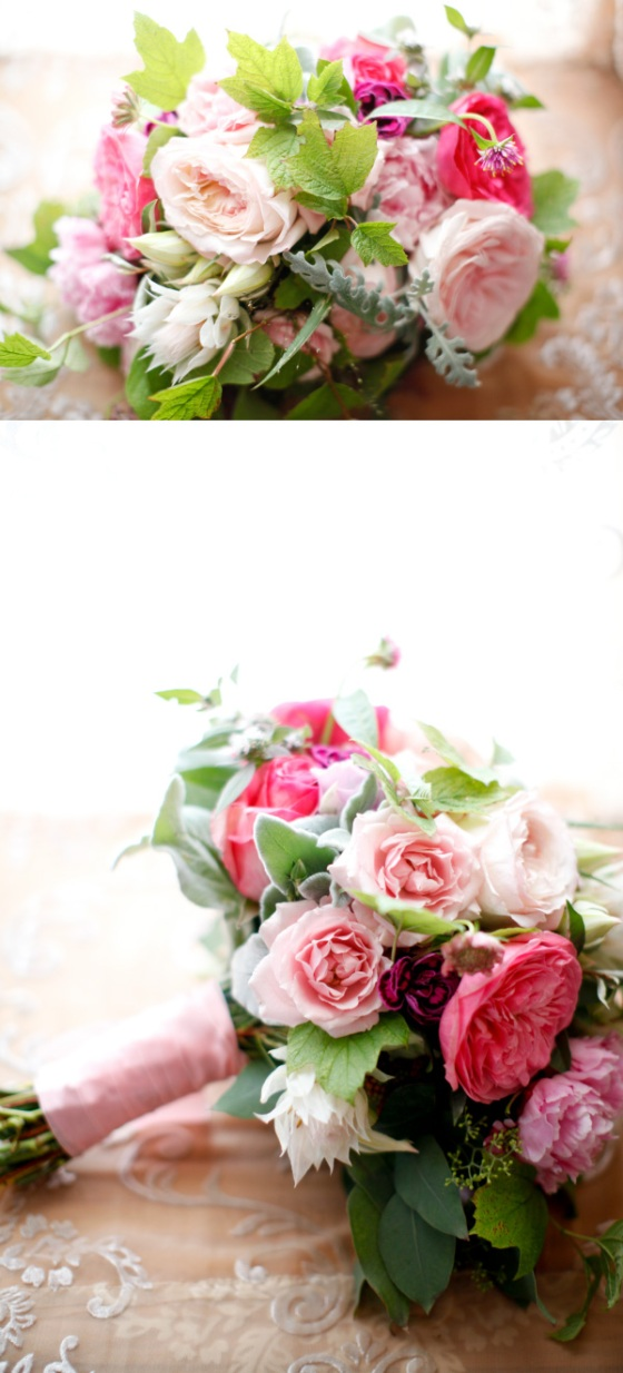 bouquet flowers bridal pink roses peonies